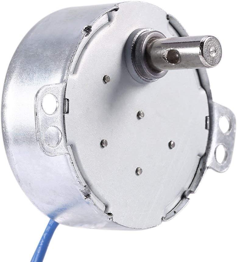 2pcs 5-6RPM School Project Model Synchronous Synchron Motor,Turntable motor,Cuptisserie motor,Turner motor with 7mm Flexible Coupling Connector Lamp Cord 50//60Hz AC100~127V 4W CCW//CW For Hand-Made