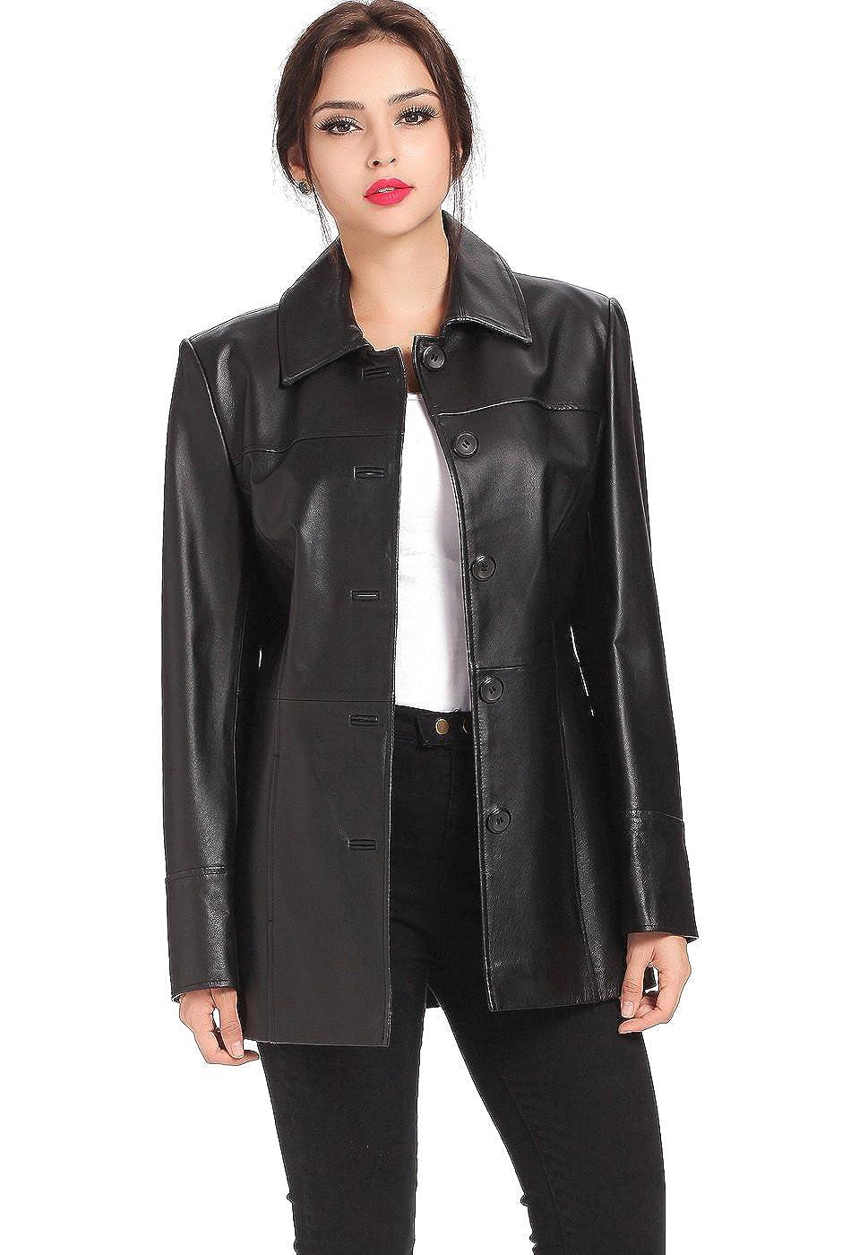 85edf85bf928 BGSD Women s Megan Lambskin Leather Car Coat (Regular Plus   Short ...