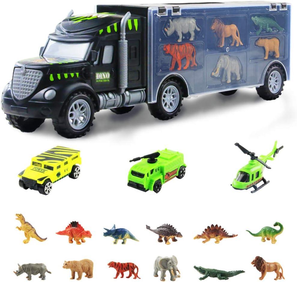 Camión Remolque Transportador de Dinosaurios Juguetes-12 Mini Animales Dinosaurios Juguetes y Coche Juguetes Niños 3 4 5 años