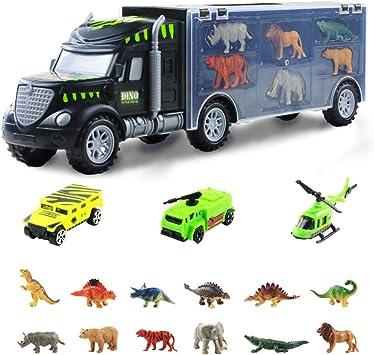 Nuheby Dinosauri Camion Giocattolo per Bambini con 6 Dinosauri Giocattolo 6 Animali Plastica per Bambini 3 Trasporti Giocattoli 16 Pezzi Regalo