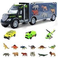 Camión Remolque Transportador de Dinosaurios Juguetes-12 Mini Animales