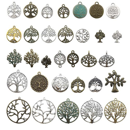 100g Tree of Life Charms Collection - Mixed Antique Gold Silver Bronze Patina Colors Tree Metal Alloy Pendants for Jewelry Making DIY Findings (HM75)