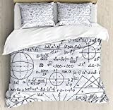 Modern Duvet Cover Set Queen Size by Ambesonne, School Genius Smart Student Math Geometry Science Numbers Formules Image Art, Decorative 3 Piece Bedding Set with 2 Pillow Shams, Dark Purple White