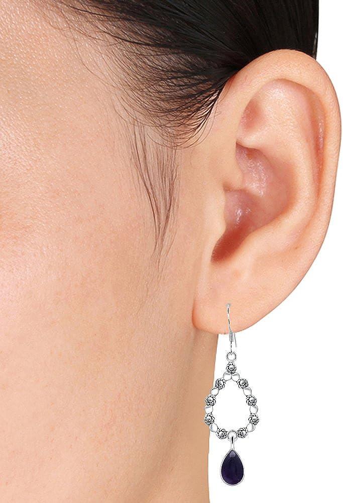 Orichid Jewelry Pear Shape Purple Amethyst Crystal Stone Dangling Teardrop Earrings For Women 925 Sterling Silver A Birthday//Anniversary Gifts For Wife Or Mom A February Birthstone Gemstone