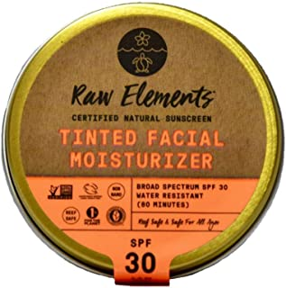 product image for Raw Elements Tinted Facial Moisturizer Certified Natural Sunscreen | Non-Nano Zinc Oxide, 95% Organic, Very Water Resistant,Reef Safe,Non-GMO, Cruelty Free,SPF 30+, All Ages Safe, Reusable Tin, 1.8oz