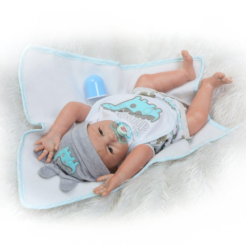 Schnuller und Fl/äschchen Decdeal Baby Puppe 50cm mit Haaren Inkl