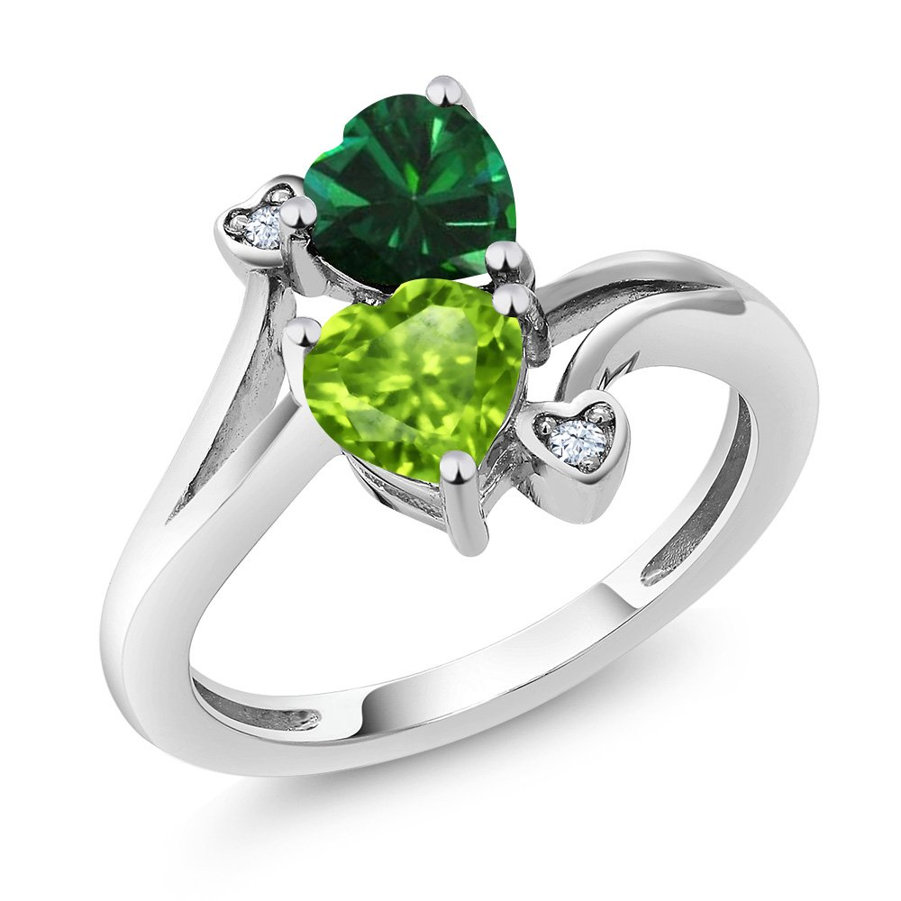 925 Sterling Silver Green Peridot and Green Simulated Emerald Ring 1.54 Ctw Heart Shape (Size 7)
