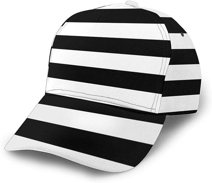 Gorra de béisbol Ajustable de Rayas náuticas Blancas y Negras para ...