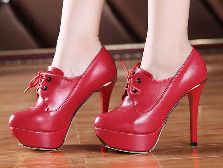 Eeayyygch Eeayyygch Eeayyygch Frauen High Heels Wasserdichte Plattform Runde Kopf Lederschuhe (12cm) (Farbe   Rot, Größe   38) 2822d8