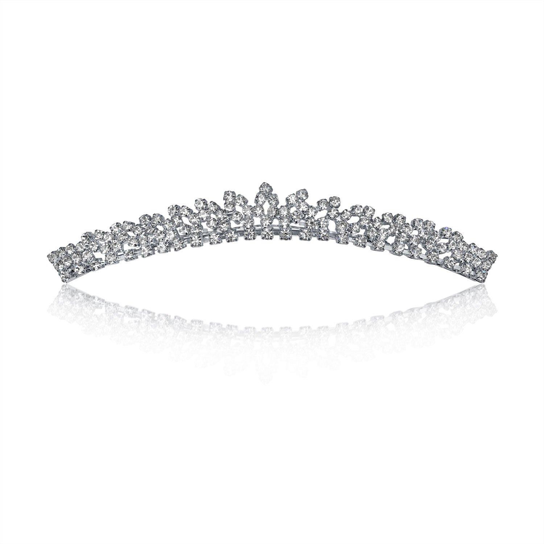 Bling Jewelry Classic Rhinestone Bridal Mini Comb Headpiece Silver Plated PK-0322-BJ