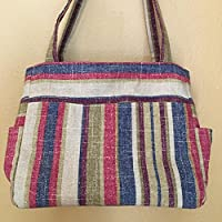Katrina#1690, Large Project Tote, Self Standing and Expanding Tote, Large Knitting Bag. Beautiful Striped Tote