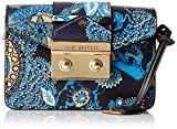 Juicy Couture Leather Mini Clutch with Flap Closure and a Gold Chain, Metallic Blue