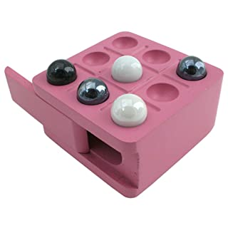 Zoe Tic Tac Toe Mini Travel Wood Board Game Set with Marble Pieces, Pink