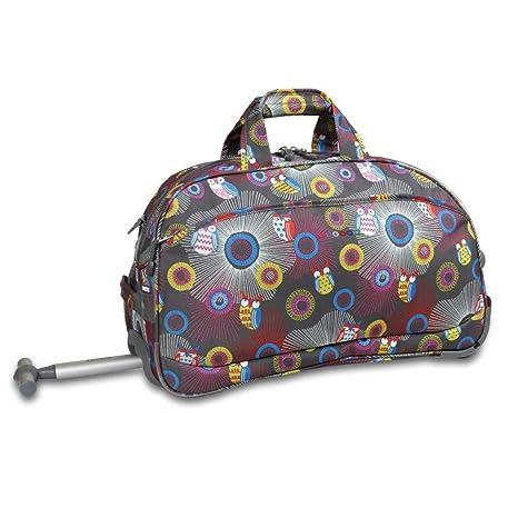 64d7fc6a026 Amazon.com   Color Girls Owl Polka Dot Theme Rolling Duffel Bag Carry, Grey  Purple Yellow   Sports Duffels