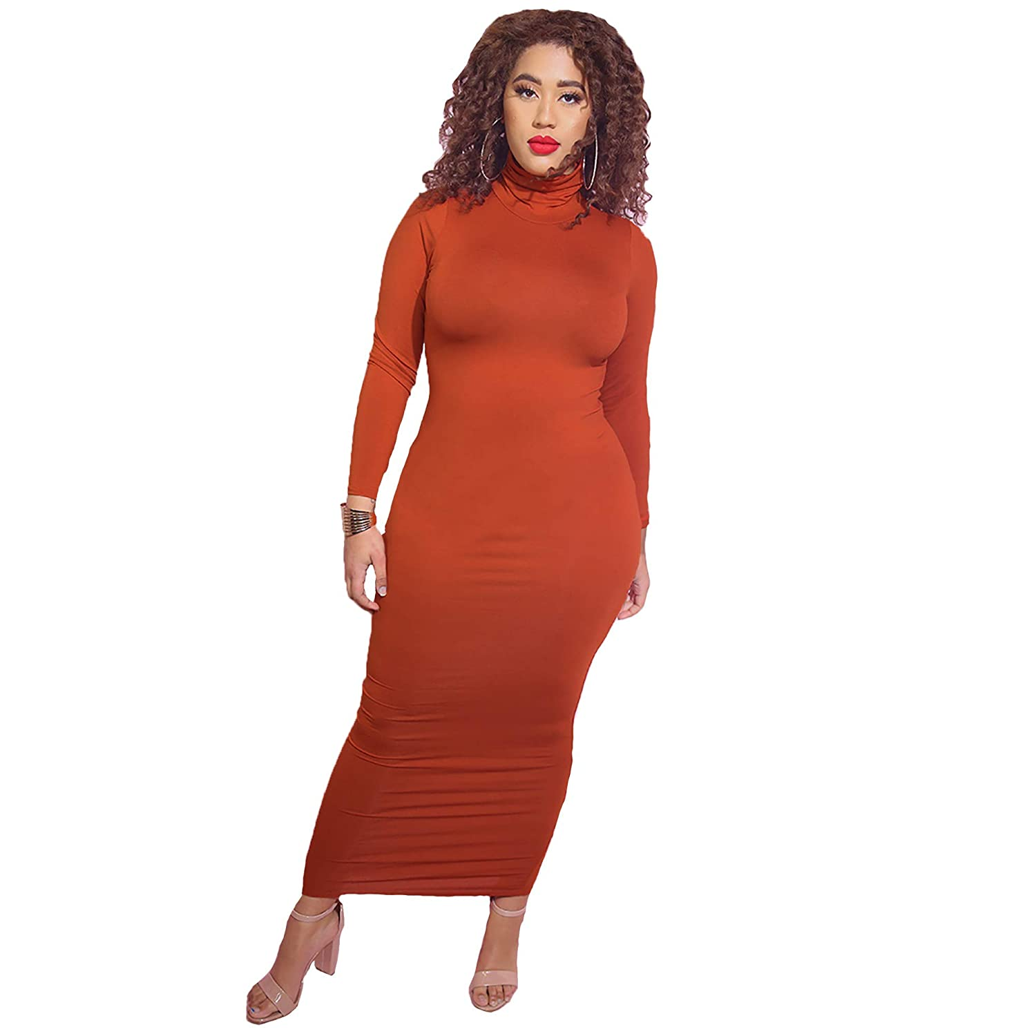 54d0a9112c9 Rebdolls Women s Casual Turtleneck Long Sleeve Bodycon Maxi Dress - Plus  Sizes