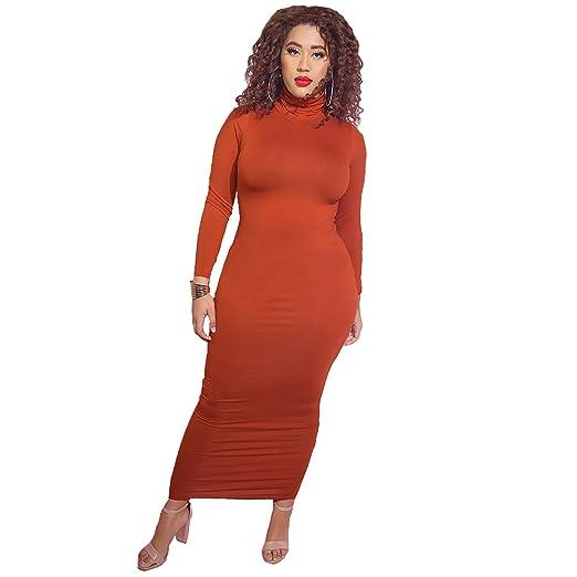 Rebdolls Women\'s Casual Turtleneck Long Sleeve Bodycon Maxi Dress - Plus  Sizes