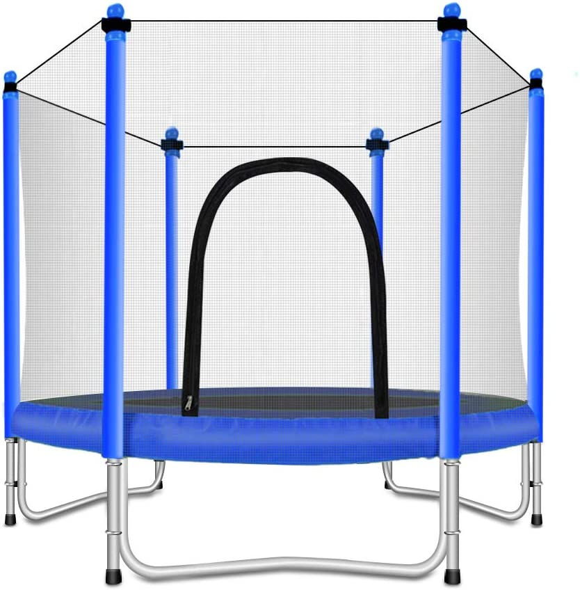 FashionSport Outfitters Trampoline with Safety Enclosure – 屋内または屋外トランポリンfor kids-青-5ft ブルー
