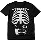 Halloween Rib Cage Skeleton Junk Food Belly Xray Funny Men's T-Shirt