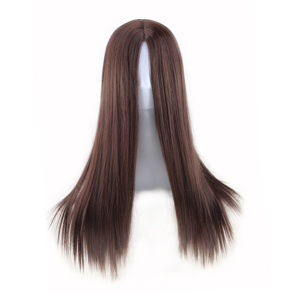 M-Egal Women Long Straight Heat Resistant Synthetic Wig No Bangs for Party Daily Dress light brown