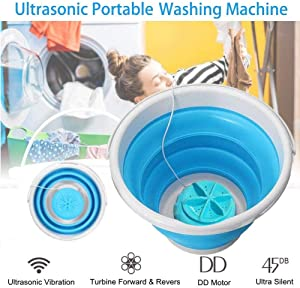 FQMAO Portable Turbo Washing Machine with Foldable Tub Compact Turbine Washer USB Powered Travel Laundry Washer Camping Apartments Dorms