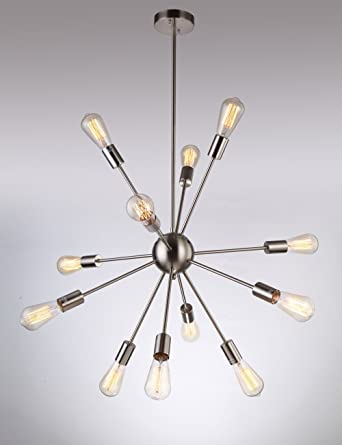 Sputnik Chandelier Naturous 12 Lights Pendant Lighting Vintage Ceiling Light With Nickel Finish