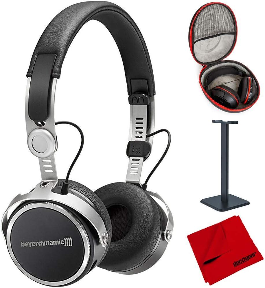 beyerdynamic Aventho Wireless Bluetooth On-Ear Headphones Black (717440) with Full Size Headphone Case, Headphone Stand & Microfiber Cleaning Cloth