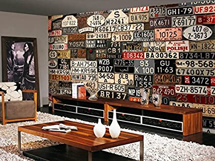Custom 3d Wall Paper Home Improvement Decorative Wallpaper For Walls Retro License  Plate Wallpapers Background Wall