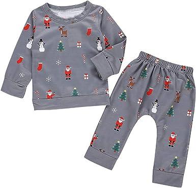 Conjuntos Bebe, ASHOP Ropa Bebe Camisas de Manga Larga Top de Algodón+Pantalones Estampado Conjunto Christmas Xmas 0-24 Meses: Amazon.es: Ropa y accesorios