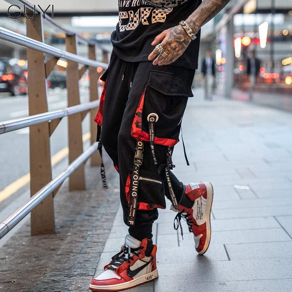 Tasche A Nastro A Contrasto Pantaloni Casual Eleganti Adatti per Jogging Sportivi di Strada Tuta da Uomo Affusolata Tasty Life Pantaloni Larghi da Uomo