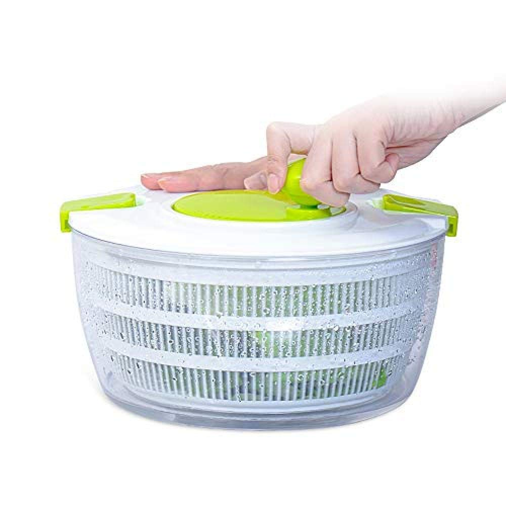 SJXmeet Dehydrated Basket Salad Spinner Vegetable Dehydrator Salad Dryer Home Wash Basin Creative Kitchen Manual Fruit Water Drain Basket Large Capacity by SJXmeet