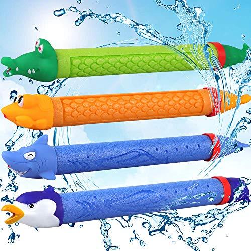 (POKONBOY Water Blaster 4 Pack Foam Water Guns Water Soaker Squirt Gun for Kids Water Shooter for Summer Outdoor Party Favor(Random) )