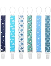 Dummy Clips Baby Pacifier Clips 6 Pack Pacifier Holder Straps for Boys and Girls Plastic Teething Clips Modern Unisex Design by YOOFOSS