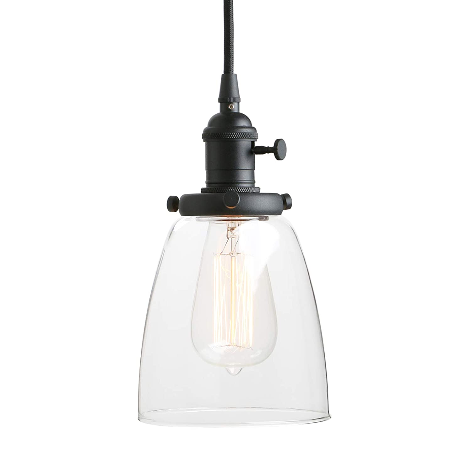 Pathson industrial glass pendant lighting black vintage style hanging light fixture for living room dining room