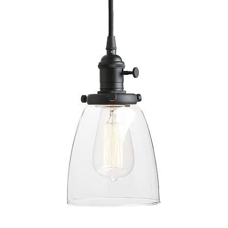 Hanging Lighting Fixtures Exterior Unlock 10 Savings Amazoncom Pathson Industrial Glass Pendant Lighting Black Vintage Style