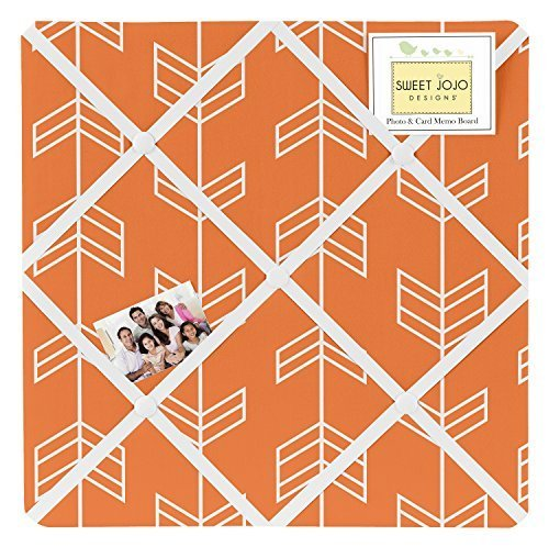 Sweet JoJo Designs Orange and White Fabric Memory/Memo Photo Bulletin Board for Arrow Collection