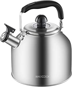 MAXCOOK SUS304 stainless steel Whistling Tea Kettle, 4.2-Quart, Brushed Satin