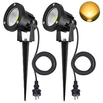 Beliebt SanGlory 2er Set 7W LED Strahler Warmweiß 3000K mit Erdspieß, 2m BK22