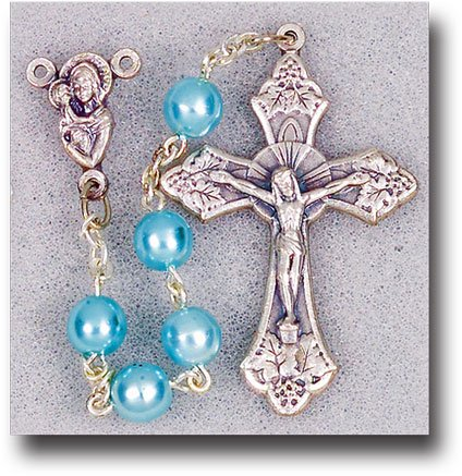 WJ Hirten 01129BL Blue Pearl Glass Beads with Crucifix