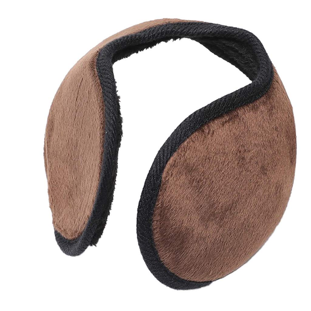 Smoox Foldable Knit Cashmere Winter Outdoor Earmuffs, Cold Weather Ear Cover Double Deck Unisex Ear Warmer (Coffee)