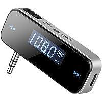 TOPELEK Transmetteur FM Bluetooth sans Fil avec Affichage LCD 3.5mm Audio Emetteur Bluetooth Voiture pour iPhone 8, 7 plus, Samsung Galaxy, Huawei, Wiko, Lecteur MP3 -Noir