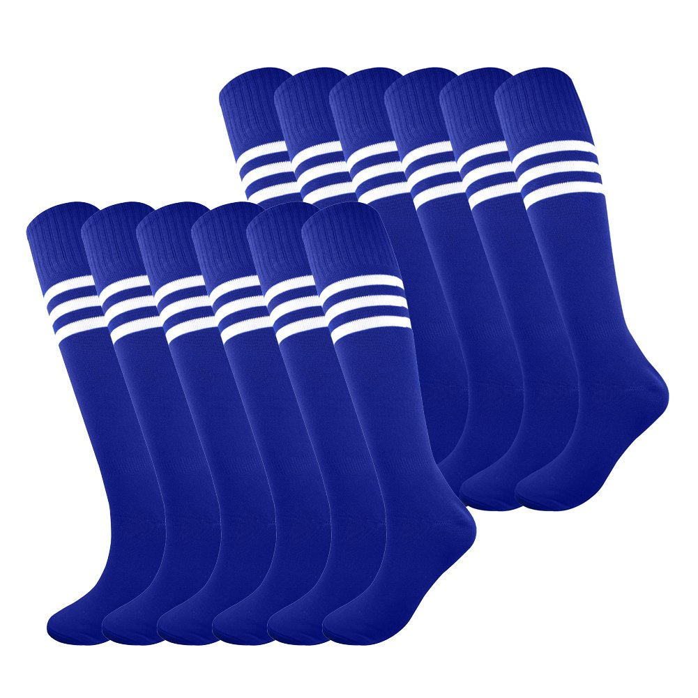 Fitliva Tube Socks Team Uniform Colorful pattern Girls Boys Soccer Sports Socks with White Stripe (12pairs-Royal Blue) by Fitliva