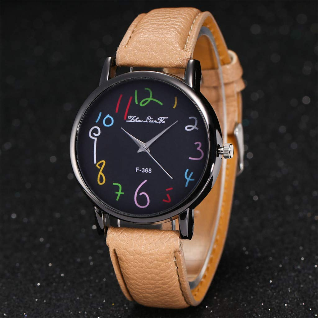 Amazon.com: Ladies Watch WoCoo Fashion Analog Quartz Cartoon Pointer Dial Wrist Watch with Leather Strap Watches Gifts (Orange): Kitchen & Dining