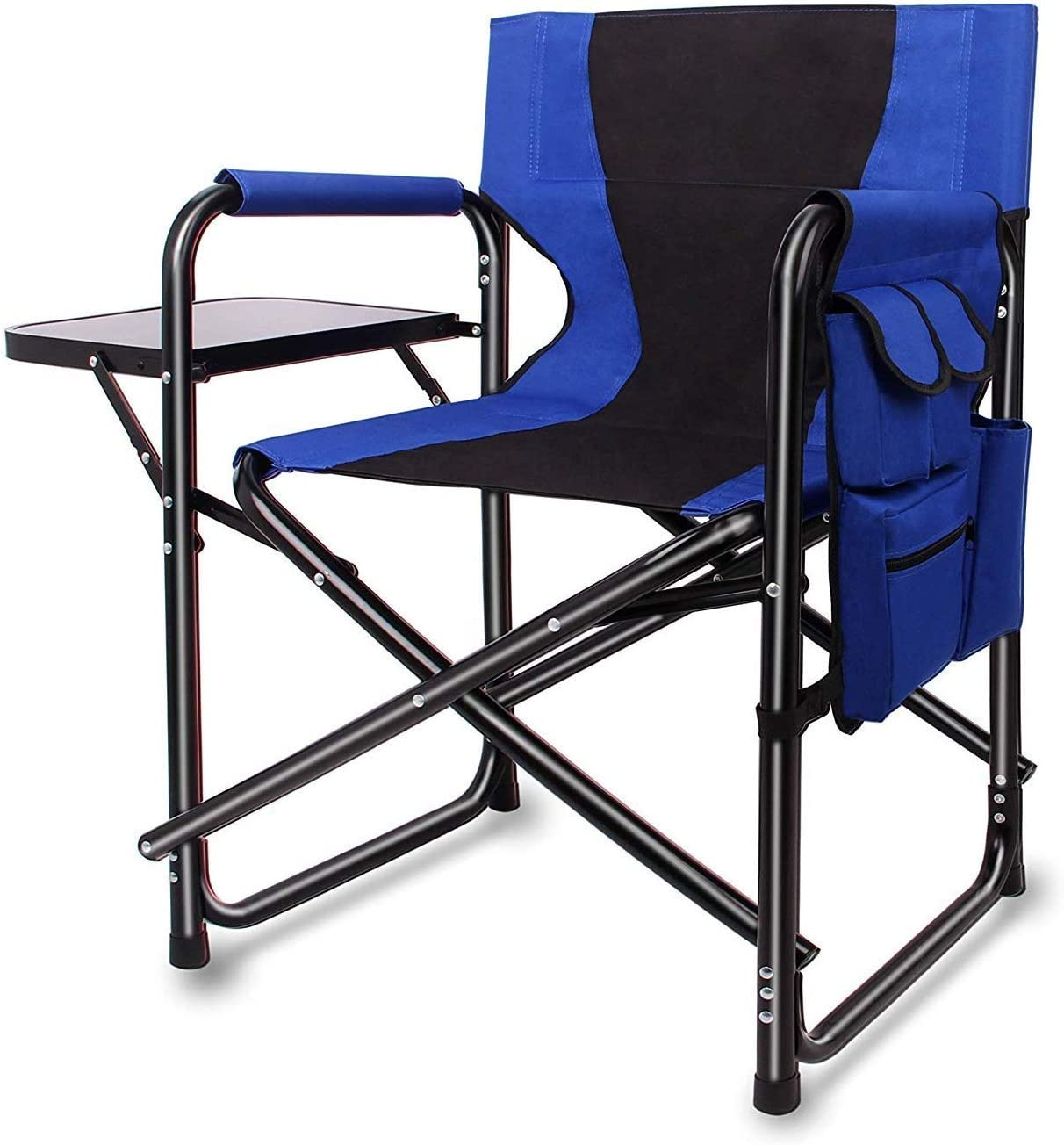 Portable Folding Directors Camping Chair – Full Back Artist Makeup Chair with Side Table Storage Bag Lightweight Aluminum Heavy Duty Supports 300lbs Outdoor Indoor