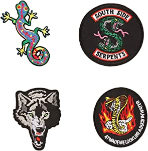Southside Serpents Iron on Patch Sticker Sew On Embroidered Wolf Gecko Snake Heat Transfer Badge Appliques for T-Shirt Coat Hats Jeans Bags