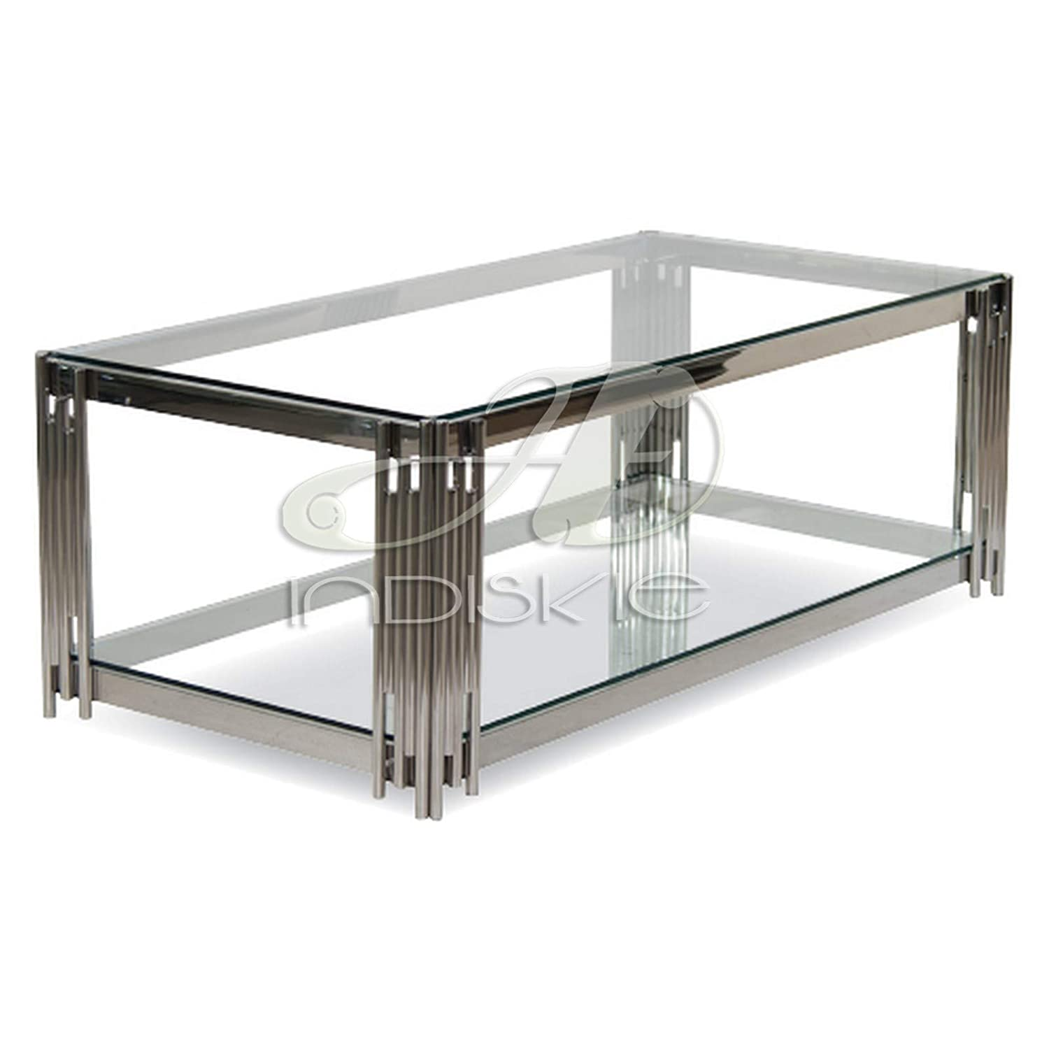 Indiskie Glass Top Coffee Table With Stainless Steel Metal Base