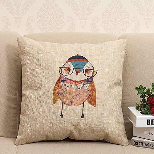 (Apexshell (TM) Mr.Owl wearing scarf Cotton Linen Square Decorative Throw Pillow Cover Cushion Case 18