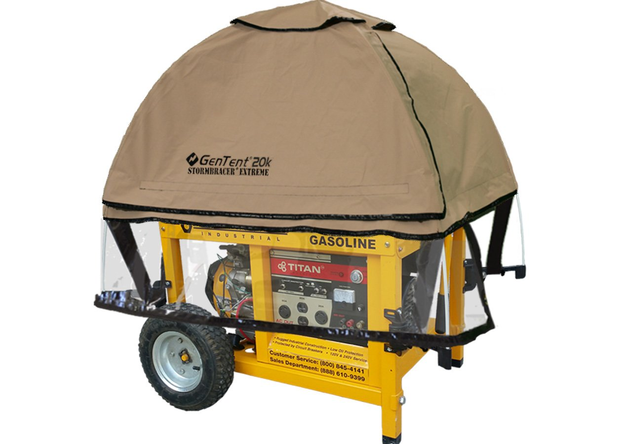 GenTent 20k Generator Tent Running Cover - Universal Kit (Extreme) - Compatible with 10000w+ Portable Generators (TanLight) by GenTent Safety Canopies