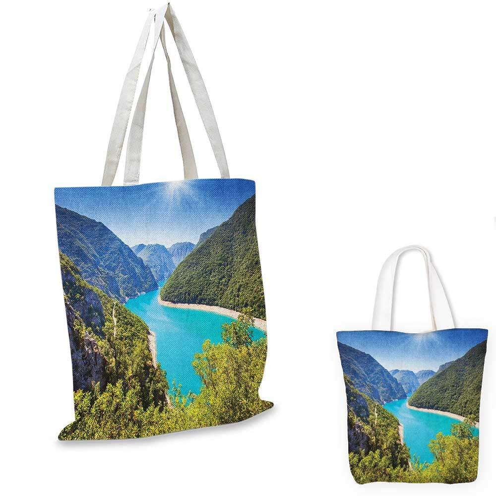 European canvas messenger bag The Piva Canyon with Reservoir Montenegro Balkans Europe Sunlights canvas beach bag Aqua Sky Blue Forest Green 12x15-10