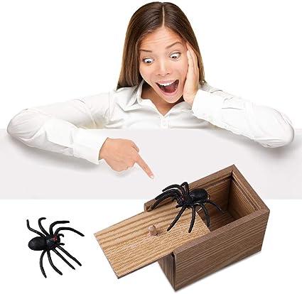 Joke Gag Toy Scarry Spider Funny Prank Scare Box Gag Wooden Hidden Trick Gift