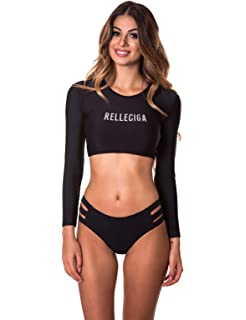 b2dcf4cdd13dd RELLECIGA Women s Swim Shirt Rashguard Short Long Sleeve Crop Top with  Triple Bikini Bottom